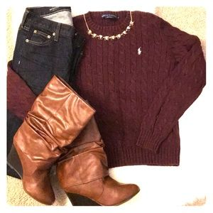 Ralph Lauren Burgundy/Maroon Cable Knit Sweater